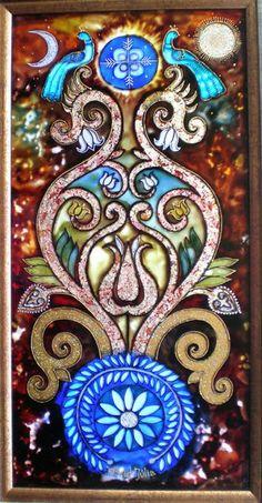 """Az életfa üzenete: """"Ha nagyra akarsz nőni, ne vágd el a gyökereidet…"""" - mondta Kassai Lajos íjászmester. Kép: Dávid Júlia üvegfestménye"""