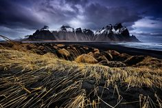 Dune contrasts - The black sand dunes at Stokksnes, Iceland