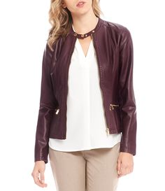 Calvin Klein Faux Leather and Rib Knit Zip Front Jacket #Dillards