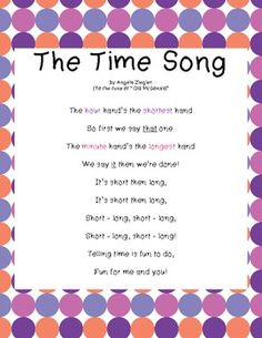 """Freebie!  """"The Time Song""""!  These original lyrics, sung to the tune of """"Old McDonald"""", will help young children to learn which hand is which, and help them to remember which hand to say first when telling time.  Enjoy!"""