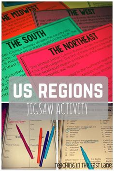 Jigsaw activities are a GREAT way to incorporate reading into the content areas. Regions jigsaw activity is the perfect way to get your students excited about learning by making them the experts. Could work for each region 4th Grade Social Studies, Social Studies Classroom, Social Studies Activities, Teaching Social Studies, Geography Activities, Teaching Geography, Classroom Community, Student Teaching, Cooperative Learning Strategies