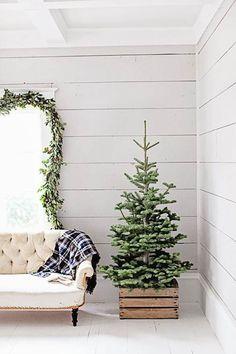 Árbol de Navidad en caja de madera