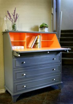 Oh wow - gorgeous two tone grey and orange painted dresser / writing desk / bureau