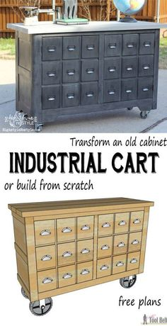 Diy Furniture : Convert an old cabinet into an industrial cart or build one from scratch with these free woodworking plans. You have got to see the before pics, unbelievable! -Read More –
