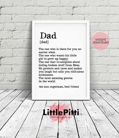 Dad gifts, gift for dad, dad birthday gift, fathers day print, father print, wedding gift for dad, funny dad gift, to dad from daughter