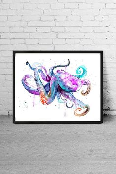 Octopus Watercolor art Watercolor painting Animal by MyVisualArt