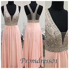 #promdress01 prom dresses - cute v-neck pink chiffon beaded long formal prom dress for teens,sparkly ball gown with sequins #coniefox #2016prom