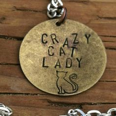 Crazy Cat Lady Hand Stamped Necklace by scequine on Etsy, $17.00