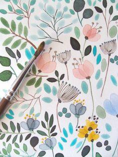 flower illustration design pattern from aquarela
