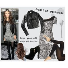 Leather princess - Nina Dobrev by adel-en on Polyvore featuring La Cera, Wolford, DKNY and adidas NEO