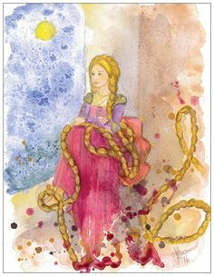 Rapunzel postcard by silviadotti on Etsy