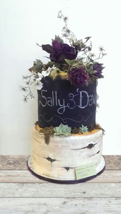 Chalkboard and silver birch cake