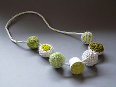 """Polymer Clay Necklace """"Spring Green Confection"""" by claynine (Angela Garrod)."""