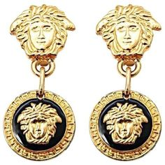 Preowned Gianni Versace Medusa Black/gold Earrings ($479) ❤ liked on Polyvore featuring jewelry, earrings, beige, drop earrings, gold earrings, yellow gold drop earrings, gold jewelry and earring jewelry