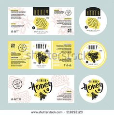 Set of templates label for honey. With hand-drawn graphic Food Menu Design, Food Packaging Design, Packaging Design Inspiration, Honey Packaging, Jar Packaging, Honey Label, Food Labels, Bottle Design, Label Design