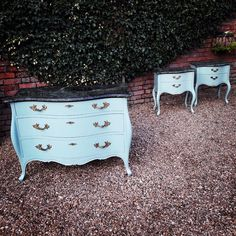 French Louis XVI Style Bombe Marble Top Chest of Drawers & Bedside Cabinets set. Hand painted in 'Little Green' Aquamarine - Deep' satin finish with Black and Green Marble Tops.