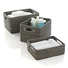 Sedona storage offers loads of texture, handwoven of sturdy rattan and finished in warm grey. Rounded tote has cutout handles with wrap detail to stow in bath, bedroom or office. rattanWater-based, non-toxic grey lacquer finishMade in The Philippines. Wire Baskets, Storage Baskets, Door Storage, Crate And Barrel, Rattan, Wicker, Grey Baths, Simple Bathroom, Zen Bathroom