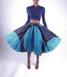 African Ankara Print Mid Length SkirtMidi Skirt  by tribalgroove, $70.00