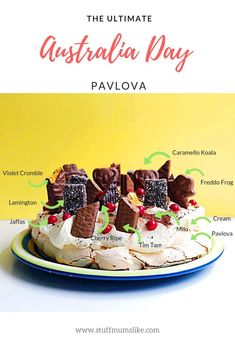 The Ultimate Australia Day Pavlova - Stuff Mums Like Australian Party, Australian Food, Australian Recipes, Pavlova, Xmas Food, Christmas Desserts, Australia Day Celebrations, Easy Desserts, Dessert Recipes