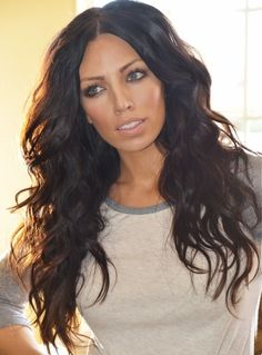 Luxury Sexy Beautiful Long Wavy Black Layered Lace Wig 100% Indian Human Hair 22 Inches