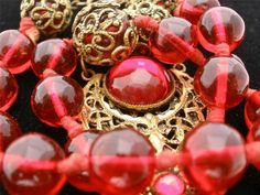 Antique Lavalier Ruby Red Czech Hand Knotted Glass Bead Gilded Art Deco Necklace | eBay