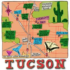 Tucson Map, AZ by Michael A. Hill