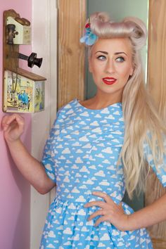 1950's Style Cloud Dress with Sleeve - Silly Old Sea DogSilly Old Sea Dog