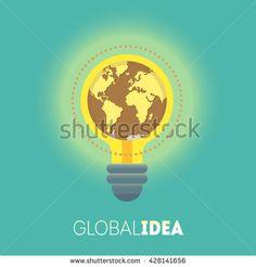 Global idea. Big idea. Creative idea. Conceptual illustration - stock vector