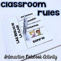 Las reglas de la clase - Spanish Classroom Rules for Interactive Notebooks Spanish Interactive Notebook, Interactive Notebooks, Classroom Rules, Spanish Classroom, Spanish Teaching Resources, Elementary Spanish, Too Cool For School, School Stuff, Third