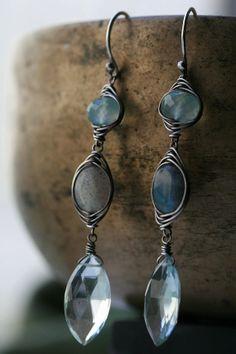 Aquamarine, labradorite and chalcedony chandelier with silver herringbone wrap.. $50.00, via Etsy.