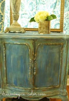 the green cottage .. X ღɱɧღ ||dreamingincolor: French Painted Patina Night Stand Chalk Paint Project
