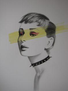 Audrey - I Believe in Punk!, Raffaella Artist. Pop Art. Drawing. Original drawings look stunning framed and hung in an entrance or hallway.