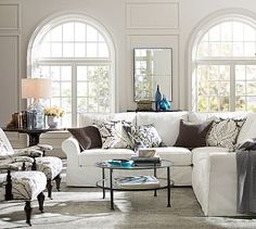 PB Comfort Roll Arm Slipcovered 3-Piece L-Shaped Sectional with Corner #potterybarn