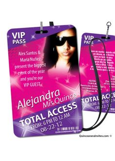 VIP Pass - Party Invitations - New invitations simulating the all access pass given in special events and promotions, now you can have them for your birthday party, quinceanera or sweet Printed on both sides, includes the whole kit: Invitations and l