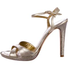 Pre-owned Rene Caovilla Metallic Embellished Sandals ($130) ❤ liked on Polyvore featuring shoes, sandals, gold, genuine leather shoes, embellished leather sandals, leather sandals, metallic leather sandals and ankle wrap sandals