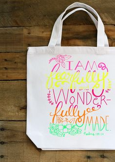 Learn how to make your own Neon Color Blocked Hand-Lettered Tote Bag.  Free Silhouette cut file in post! pitterandglink.com AD