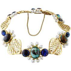 Vintage William Ruser 14K Yellow Gold & Multi-colored Opal Bracelet, c. 1960s