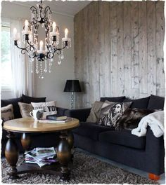 black + white + wood living space, home of Susan Gangstad #ethnic #wood_wall