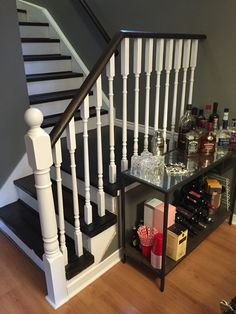 Bye bye oak stairs! Finished product stair DIY with Minwax Ebony stain.