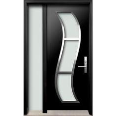 Fiberglass exterior door - one full glass sidelite - Diagano series - Home Door Design, House Gate Design, Door Gate Design, House Front Design, Main Entrance Door Design, Wooden Front Door Design, Wooden Front Doors, Contemporary Front Doors, Modern Front Door