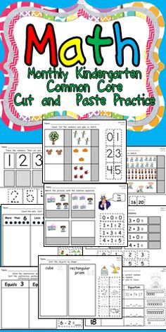 This packet has 180 cut-and-paste practice pages aligned to the Kindergarten Math Common Core Standards.    The pages are divided by months: there are 20 pages for each month from September through May. For each month, there are 4 different skills/concepts to practice. There are 5 practice pages for each of these skills. These can be using with a skill for each week, or they can be spread out throughout the month, depending on your preference. Click for more details :)