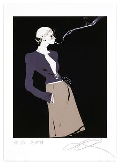 David Downton, Chanel (Smoking), 2011. Limited Edition FIG Print. Signed and numbered by the artist. Price approx. $575.00.