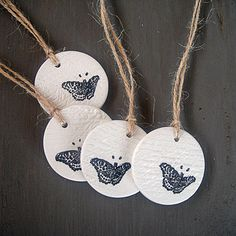 Add something extra special to your gifts with this set of 4 beautifully finished #handcrafted Butterfly Script clay #tags. Finished with natural twine, these gift tags are crafted, sanded and finished with a lovely sheen. They also make a unique wedding favour and can be personalised for each guest. These #butterfly tags also look gorgeous at parties and hung around the home to add a vintage feel to your decor.