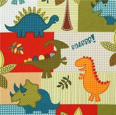 white patchwork dinosaur fabric for boys Michael Miller 1