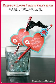 DIY Rainbow Loom Charm Valentines with Free Printables