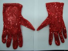 Red Sequin Gloves Sequined Accessories At SequinKingcom