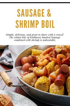 If you love sausage and you love shrimp, this is the recipe for you! Our Sausage Shrimp Boil is a simple recipe, packed full of bold flavors. Seafood Casserole Recipes, Chowder Recipes, Slow Cooker Recipes, Seafood Recipes, Crockpot Recipes, Seafood Curry Recipe, Curry Recipes, Fish Recipes, Seafood Menu