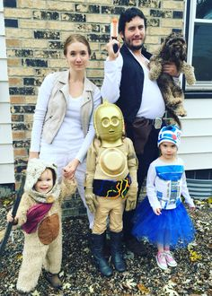 Star Wars family costumes- C3Po, R2, ewok, chewy the dog, Hans and leia