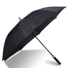 62 Inch Automatic Open Golf Umbrella - Extra Large Oversize Double Canopy Vented - 210T Teflon Rain Repellant Protection Sun, Rain, Sports - Windproof Waterproof Stick Umbrellas, Formal Black #golfumbrella