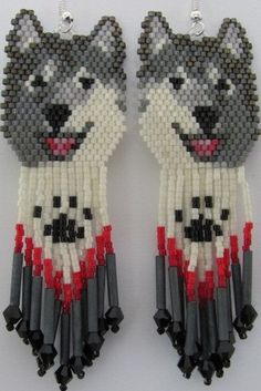 Hand Beaded  Laughing Grey wolf Husky malamute dog by beadfairy1, These are so cool! They are on Etsy, but would love to get the pattern.